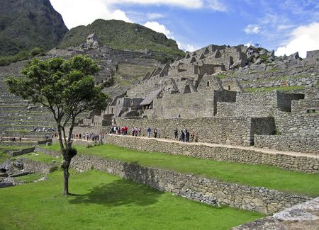 terracing: The remote Inca mountain site of Machu Picchu in the Peruvian Andes