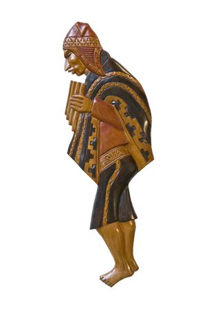 Peruvian wood carving of a man - White background