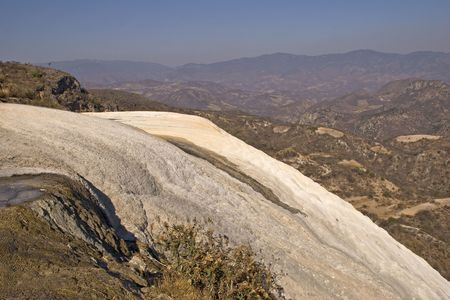 Solidified waterfall contains high concentration of calcium and sulfur. Oaxaca, Mexico Imagens