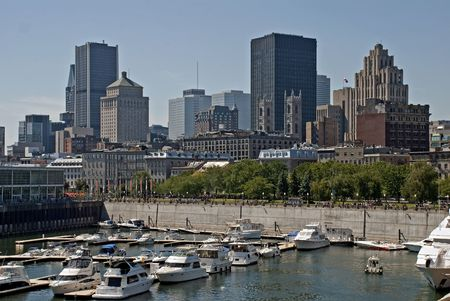 Montreal skyline viewed from the waterfront with yacht basin photo