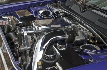 Modern supercharged high performance V8 engine