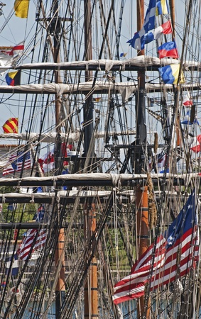 rigger: Lines, spars and masts of a square rigger in the Montreal harbor