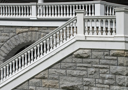 Old balustrade with stair balusters in Brockville, Ontario, Canada