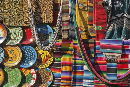 Colorful Mexican handicrafts, made from various materials