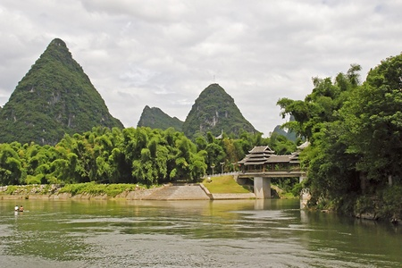 Li River scene with Karst hills in background, Guilin, China