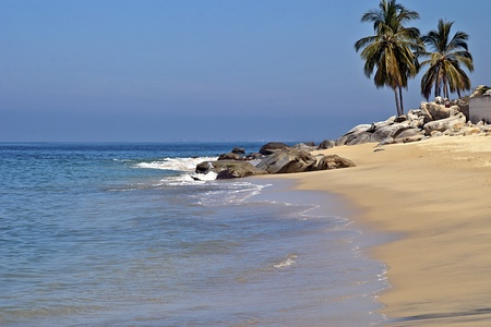 Remote beach by the Mexican Pacific Ocean near Puerto Vallarta photo