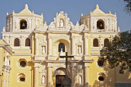 Restored La Merced church facade in Antigua, Guatemala