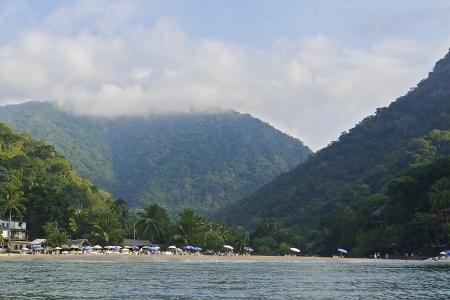 Beach hamlet by the Mexican Pacific Ocean near Puerto Vallarta Stock Photo