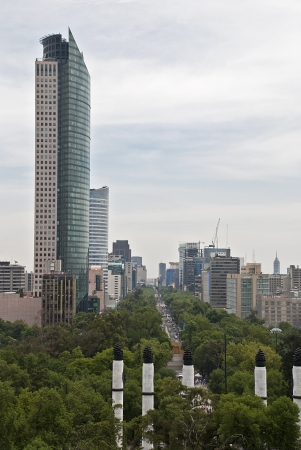 Chapultepec Park in Mexico City with high-rise buildings in background