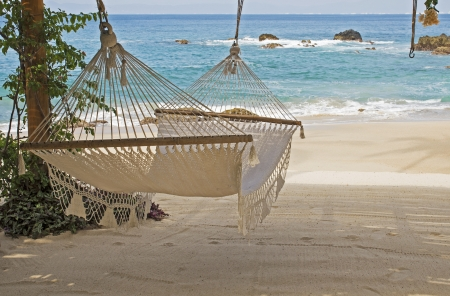 Hammock by the Mexican Pacific Ocean south of Puerto Vallarta Stock Photo
