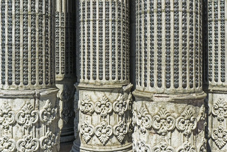 inlays: Detail of old columns with metal inlays, National Palace in Guatemala City