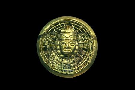 Oude Peruaanse gouden ketting kraal, Mochica cultuur Stockfoto