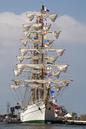 furled: Majestic windjammer in port with furled sails, Cartagena, Colombia