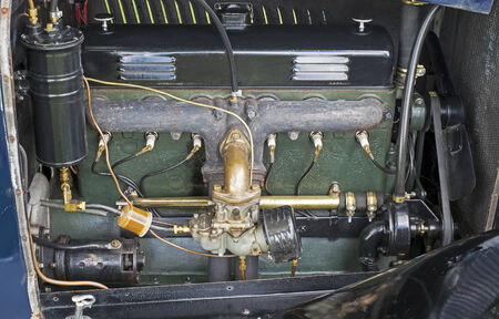 Antique American 1923 6 기통 인라인 자동차 엔진 스톡 콘텐츠