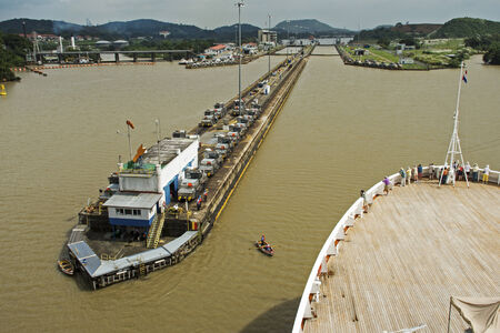 miraflores:  Cruiseship entering the Miraflores Panama Canal locks, Panama