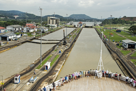 Ship passing through Miraflores Panama Canal lock