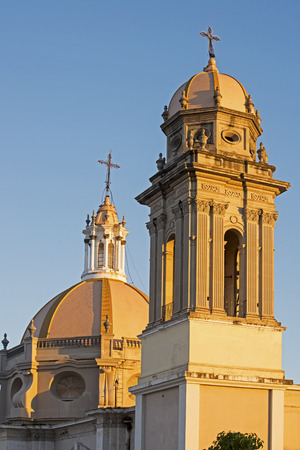 Partial view of Colima Cathedral with tower and dome, Colima, Mexico
