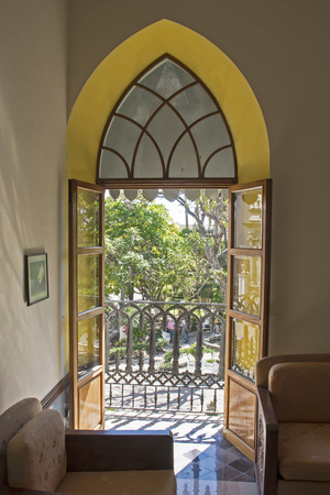 Colonial style window in Colima, Mexico