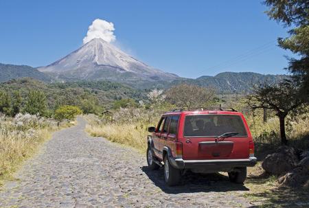 Road to the Volcan de Colima or Volcan de Fuego in Colima Mexico Фото со стока