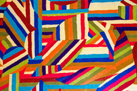 Colorful and abstract patterns in a quilt