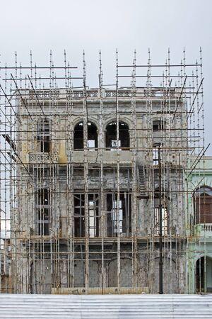 historical building: Old building facade under renovation in Havana, Cuba