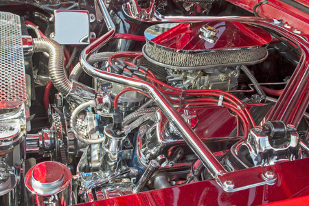 engine compartment: Engine compartment with customized high performance engine. 1966 Ford Mustang