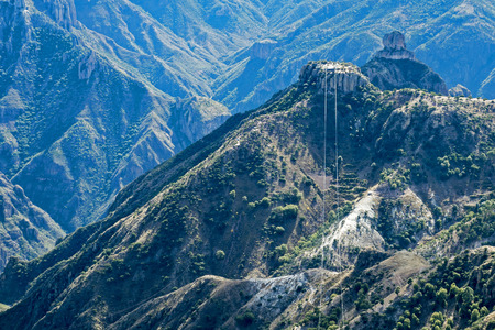 Partial view of Copper Canyon from gondola station with cables, Chihuahua, Mexico