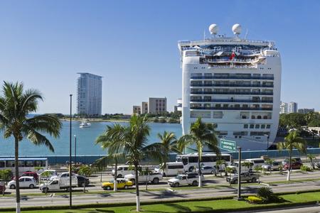 cruiseship: Cruiseship docked in the Puerto Vallarta harbor, Mexico