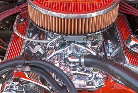 V8 high powered car engine from the seventies