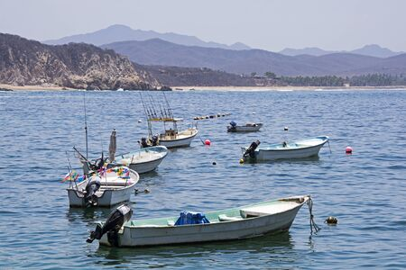 Fishing boats anchored in the Tehuamixtle Basy, Mexican Pacific Ocean