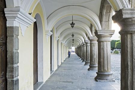 Colonial arches and columns  of the Cultural Center Santo Tomas de Aquino in Antigua, Guatemala