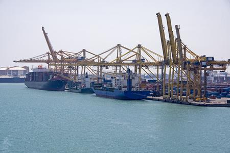Ship loading dock, Port of Barcelona, Spain Stock Photo
