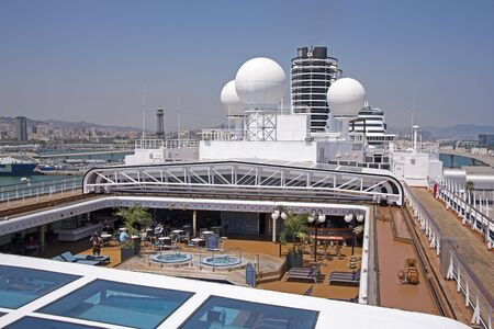 Recreation deck of a docked cruise ship