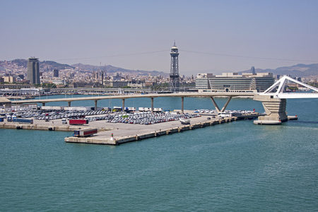 Partial view of the Barcelona harbour, with city in background Stock Photo