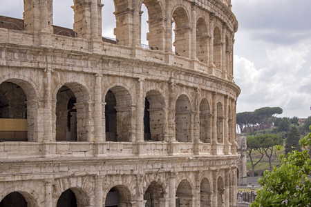 Partial view of the Colosseum walls in Rome, Italy Stock Photo
