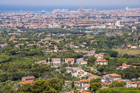 View of the port city of Livorno in Tuscany, Italy