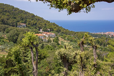 Landscape with ocean view hill by Livorno, Tuscany, Italy Stock Photo