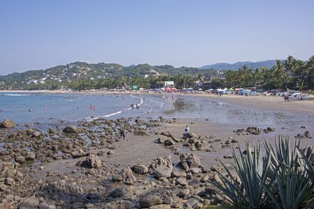 Curved beach on the Pacific Ocean, Sayulita, Mexico