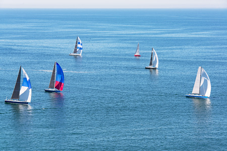 Regatta of sailing yachts in the Bay of Banderas, Mexico