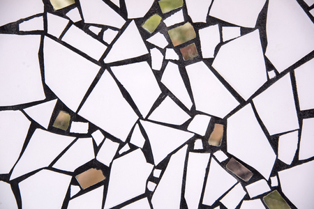 Ceramic and glass fragments artwork