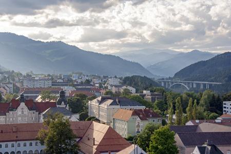 Late afternoon sun illuminates a  historic town in Styria, Austria