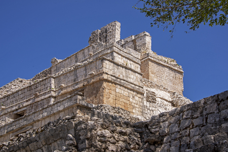 Partial view of an ancient Mayan temple inEdzna, Yucatan, Mexico