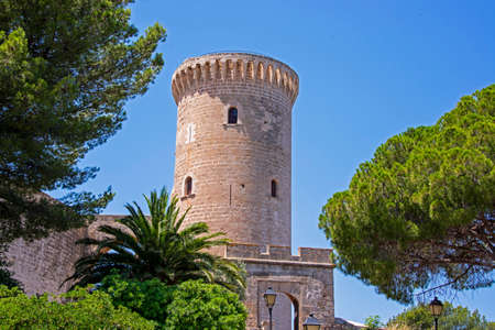 Tower of the ancient Bellver Castle in Mallorca, Spain
