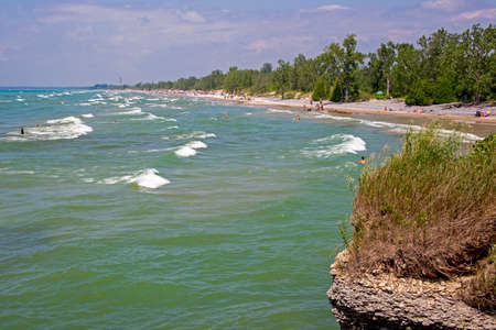 Lakeside beach with surf in Eastern Canada