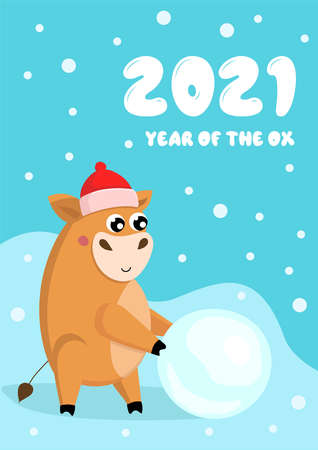 New year card with cute little bull in red hat rolling big snowball. Inscription 2021 Year of the Ox Vector Illustratie