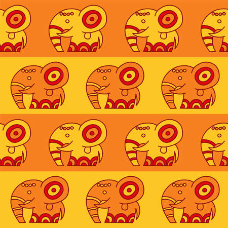 Vector seamless pattern with elephants in ethnic style. Tribal endless ornament for your design in warm colors