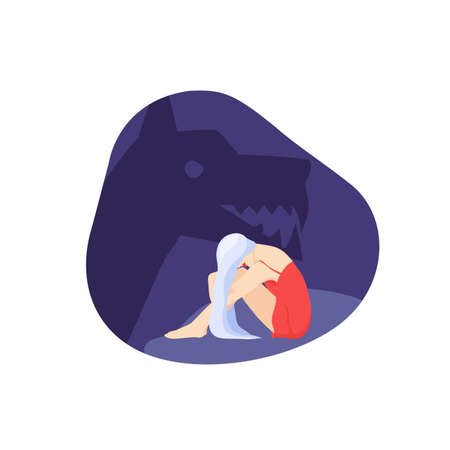 Vector picture of a young sad woman. A ghost of angry dog on the background. Concept of fear, depression, oppression, restriction, abuse, despair 矢量图像