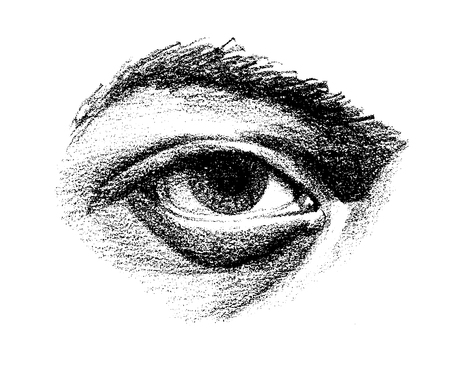 Hand drawn eye with heavy lower lid