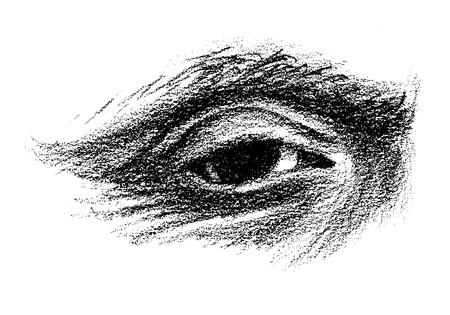 Ouderen oog hand getekend met rimpels Vector Illustratie