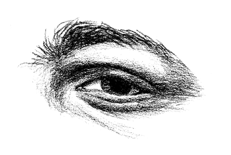 arching: drawing of an eye with heavy arching brow